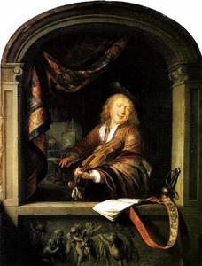 Vioolspelende jonge schilder in een venster