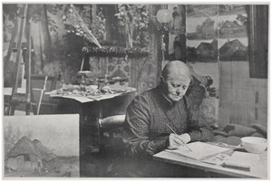 Portret van Sientje Mesdag-van Houten (1834-1909) aan haar tekentafel