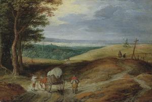 Landschap met boeren en een huifkar