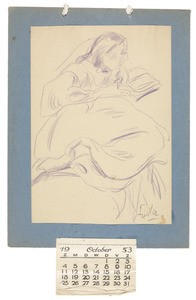 Amrey (Annemarie Balsiger) een boek lezend (kalender oktober-december 1953)