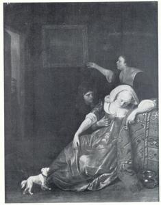 Interieur met een flauwgevallen jonge vrouw