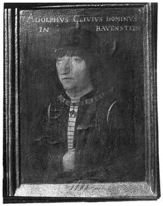 Portret van Adolf van Kleef  (1425-1492) (op de achterzijde: initialen van Adolf van kleef en zijn beide echtgenoten)
