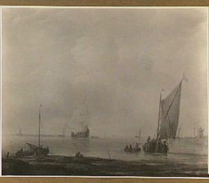 Schepen voor anker; rechts op de achtergrond een aanlegplaats met een toren