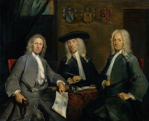 Groepsportret van de overlieden van het Chirurgijnsgilde in Amsterdam: Isaac Hartman (1686-1744), Elias Huijzer (1688-1748) en Adriaan Verduijn (1672-1749)