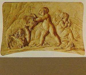Trompe l'oeilschildering van vier putti, spelend met een bok