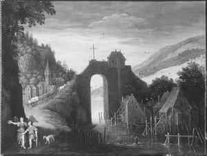 Landschap met Tobias en de engel op weg naar Ekbatana (Tobias 4-6)