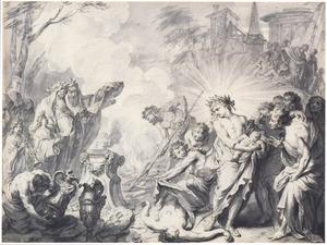 Apollo bij de geboorte van Asclepius (Metamorfosen 2:602-620)