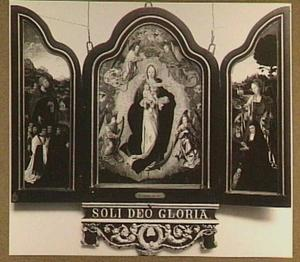 Maria met kind omringd door engelen, de HH. Petrus en Maria Magdalena met stichters