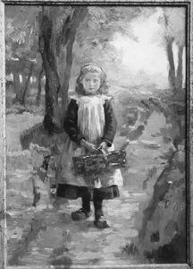 Meisje met mand op een pad