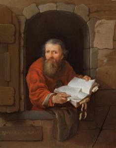 Notaris met een boek in een venster