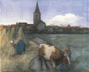 Farm scene with the St. Jacob's church