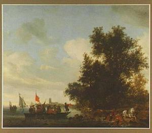 Rivierlandscap met vechtende soldaten op een veerpont