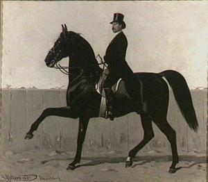 Portret van Oscar Carré (1846-1911) te paard in de piste