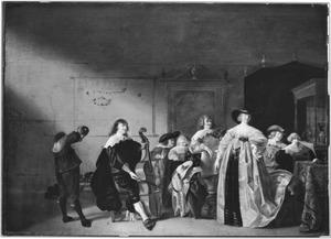 Elegant gezelschap met een viola da gamba spelende man in een rijk interieur