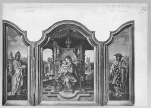 Een heilige bisschop (links), Maria met kind (midden); de H. Lodewijk (rechts)