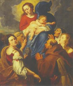 De Madonna aanbeden door de HH. Barbara, Catharina van Siena (?), Maria Magdalena, Franciscus van Assisi (?) en Antonius van Padua (?)