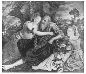 Lot wordt door zijn dochters dronken gevoerd (Genesis 19:33)