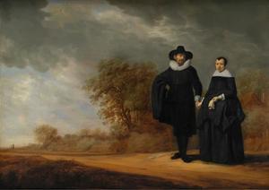 Portret van burgemeester Cornelis Damasz. van der Gracht en zijn echtgenote Jopken Jacobs in een landschap