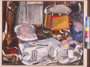 Het gezin van de schilder aan tafel