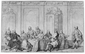 Groepsportret van de regenten, de secretaris, de boekhouder en een weesjongen van het Aalmoezeniersweeshuis van Amsterdam
