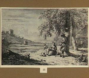 Landschap met herders bij een boerderij en een ruïne