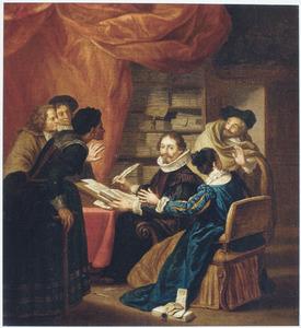 Figuren in een notariskantoor (in 17de-eeuws kostuum)