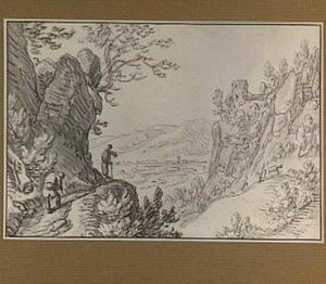 Berglandschap met rivier en kasteelruïne
