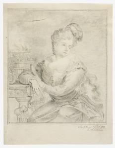 Vrouw met pluim in het haar