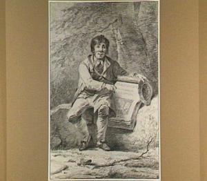 Verkoper toont het titelblad van zijn collectie tekeningen