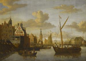 Gezicht op de Haringpakkerstoren te Amsterdam, links het paalhuis bij de Nieuwe Brug over het Damrak