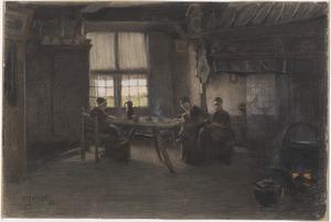 Boerenbinnenhuis in Drenthe met drie boerenvrouwen