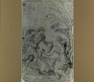 Meleager overhandigt het hoofd van het Caledonische everzwijn aan Atalanta