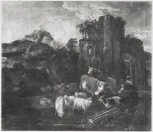 Italianiserend berglandschap met vee bij een ruïne