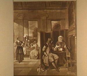 Gezelschap in een rijk interieur, zich vermakend met kaartspel, roken en drinken