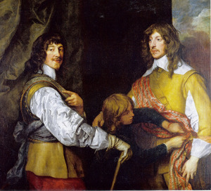 Portret van Mountjoy Blount, 1ste Earl van Newport en George, Lord Goring en een page