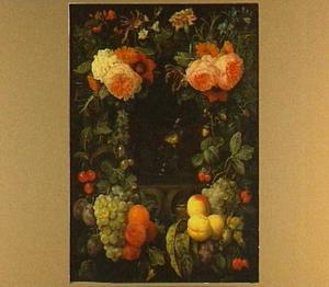 Nis met een roemer, omgeven door een krans van bloemen en vruchten