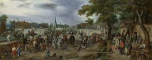 De prinsen Maurits en Frederik Hendrik van Oranje op de paardenmarkt te Valkenburg