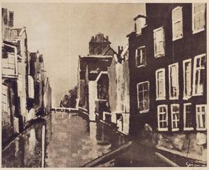 Gezicht op een gracht in Dordrecht