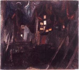 Stadsgezicht bij nacht