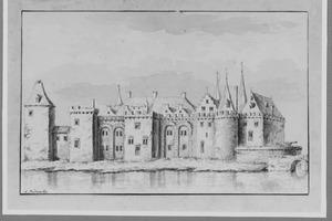 Achterzijde van het kasteel van Gouda