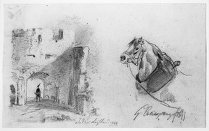 Een ruïne en een paardenhoofd