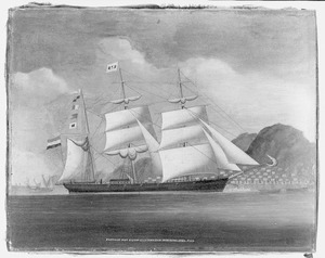 Het barkschip 'Pantalon' ter rede van Hongkong, april 1866