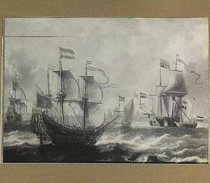 Hollandse schepen op de rede van een havenstad