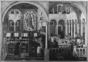 De verschijning van de Heilige Hiëronymus aan de Heilige Augustinus (links); de wonderbare ontdekking van meel in het klooster van de Heilige Benedictus (rechts)