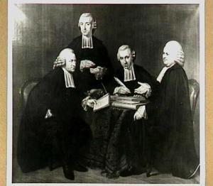 Portret van Jacques Langlois (1719-1799) , David Delprat (1734-1784) , Jean Texier (1722-1812) enEtienne Escot (....-1791)