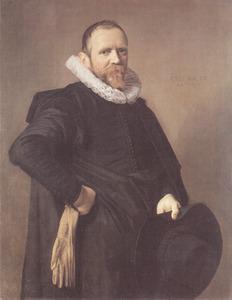 Portret van een man met een zwarte hoed in de hand