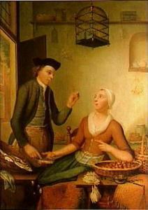 Viskoopvrouw met klant