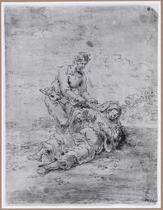 Een bezetene trekt aan de kap van een dienares van Lucifer (Suenos 1641, boek VII, zevende droom)