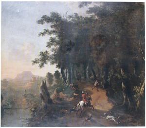 Zuidelijk boslandschap met jagers