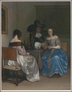 Interieur met elegant kaartspelend gezelschap